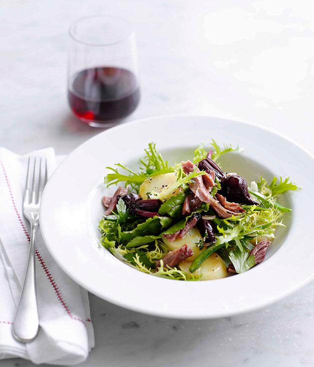 "[Duck confit](https://www.gourmettraveller.com.au/recipes/browse-all/duck-confit-beetroot-and-green-bean-salad-14111|target=""_blank"")"