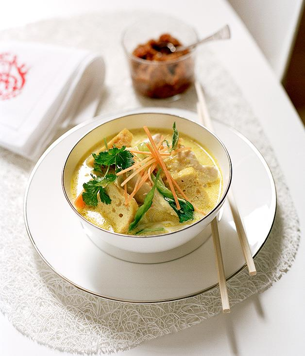 "**[Spicy chicken laksa](http://www.gourmettraveller.com.au/recipes/chefs-recipes/spicy-chicken-laksa-8842|target=""_blank"")**"