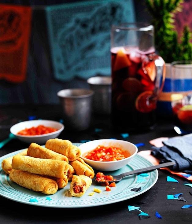 **Potato taquitos with salsa roja**