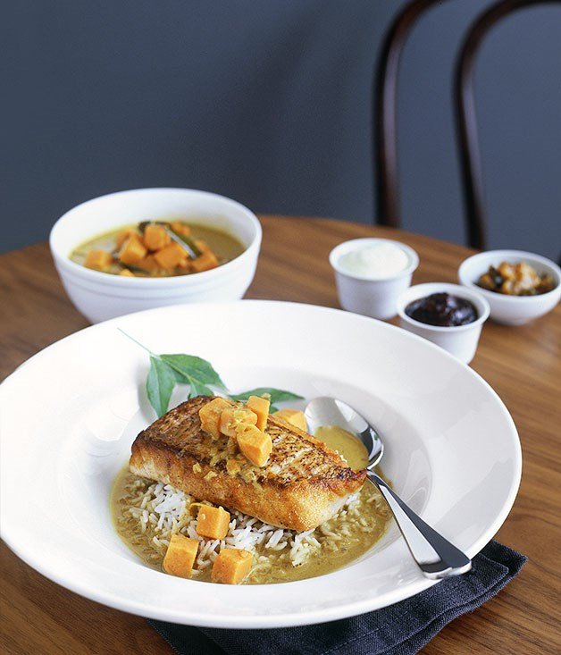 Sri Lankan snapper curry with basmati rice and yoghurt