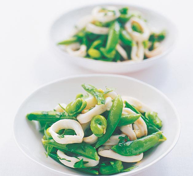 Squid and broad bean salad