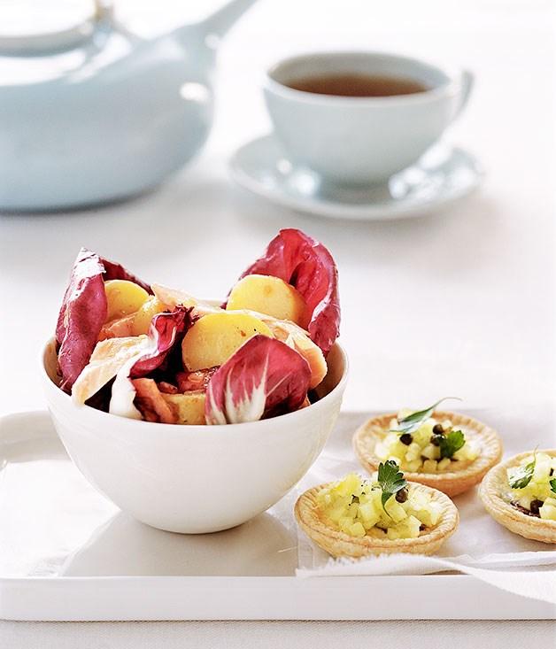 Salmon and potato salad with warm bacon dressing