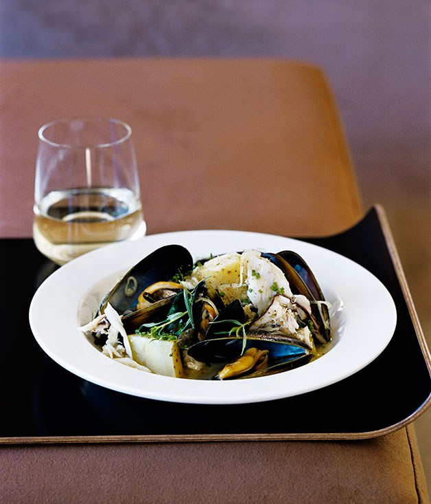 Warm mussel, potato and crab salad
