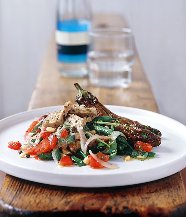 Salad of poached tuna, feta stuffed eggplant and beans