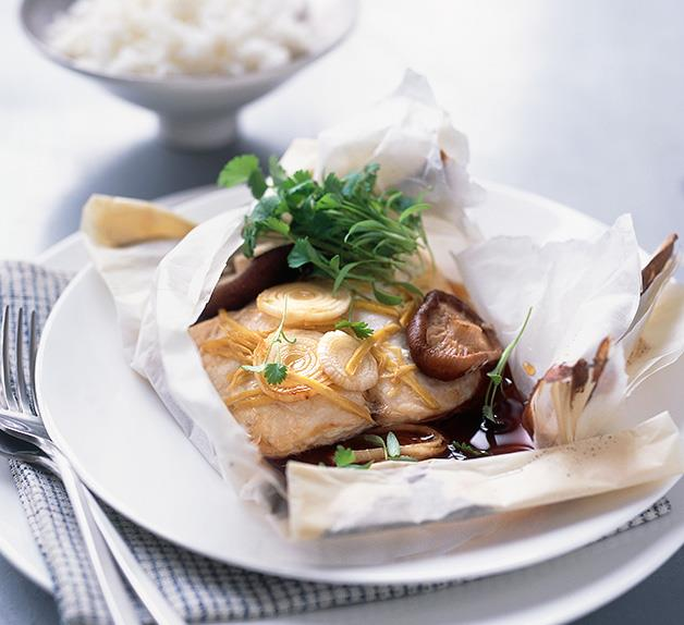 Blue-eye 'en papillote' with ginger and coriander cress