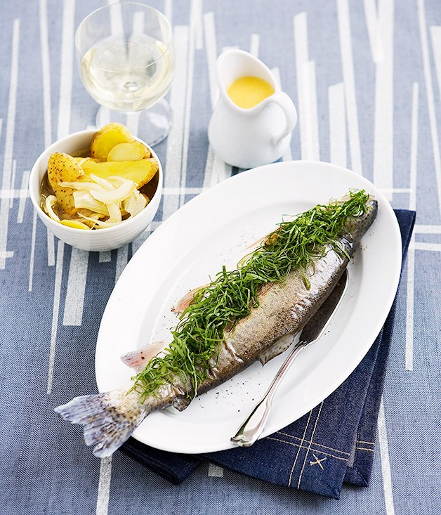 Poached rainbow trout with sorrel and lemon butter sauce