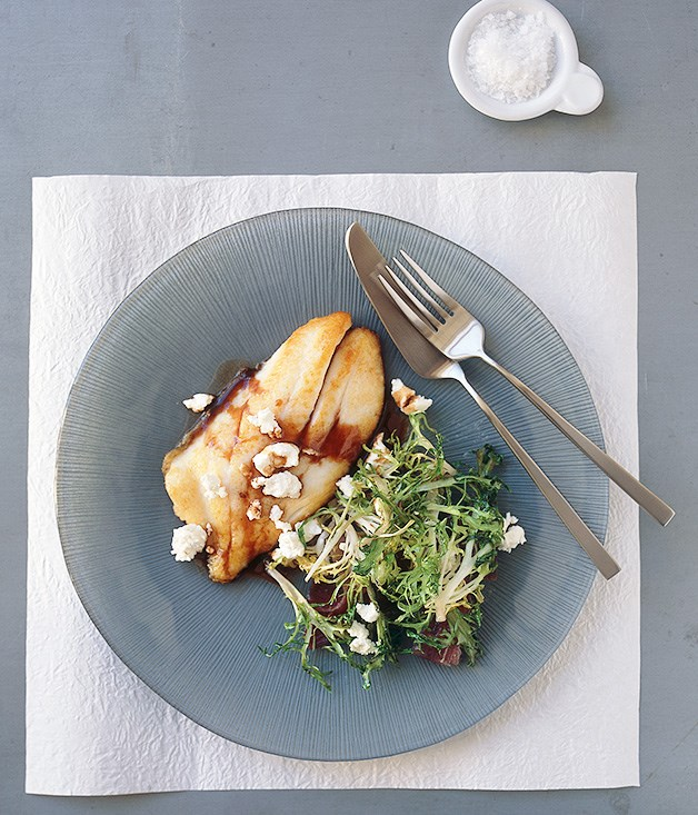 Pan-fried John Dory agrodolce with endive and goat's cheese