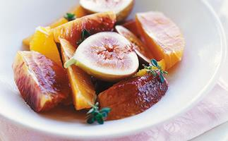 Citrus salad in white wine and thyme syrup