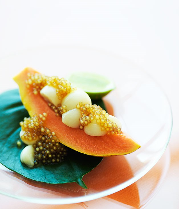 Papaya, mangosteen and tapioca pearls in palm syrup
