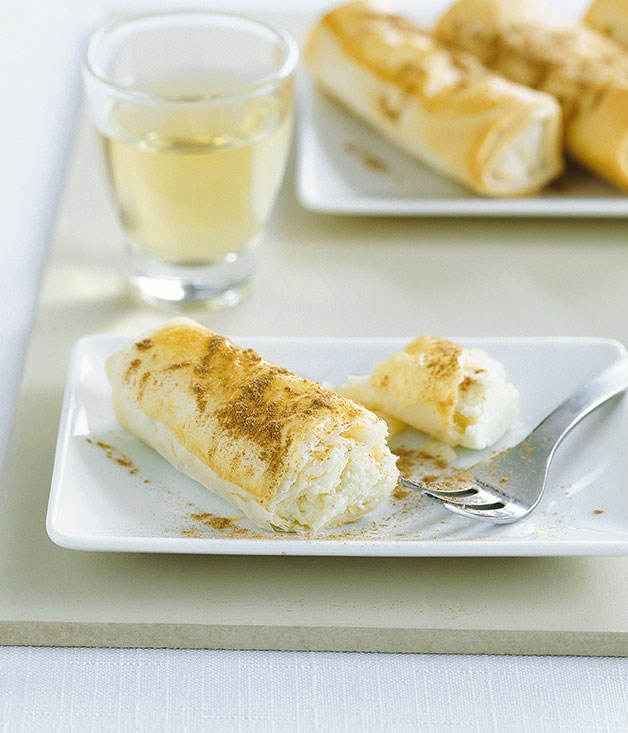 Flogeres (Sweet cheese filo rolls)