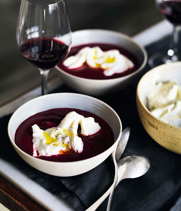"**[Beetroot soup with burrata](https://www.gourmettraveller.com.au/recipes/chefs-recipes/beetroot-soup-with-burrata-7840|target=""_blank"")**"