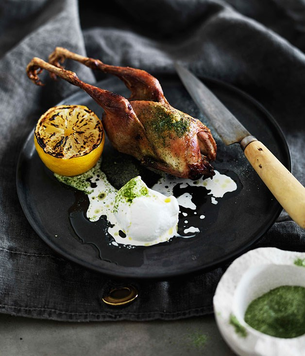 Roast quail with yoghurt and celery