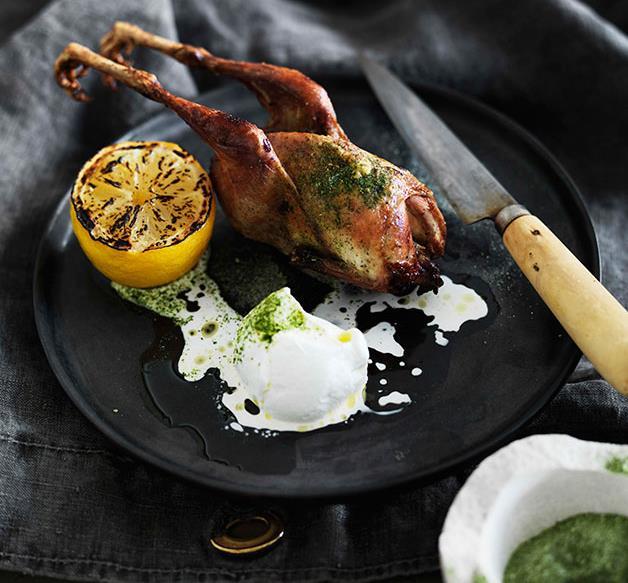 Roast quail with yoghurt and celery