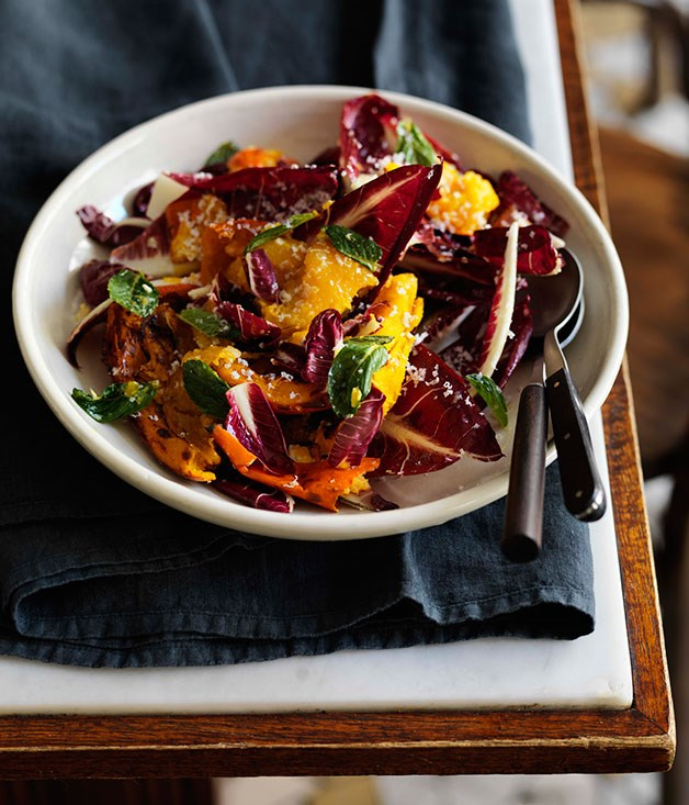 Roast pumpkin with radicchio, ricotta salata, chilli and lemon