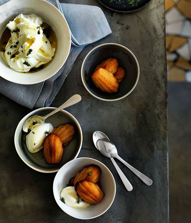 Goat's yoghurt sorbet with warm burnt honey madeleines