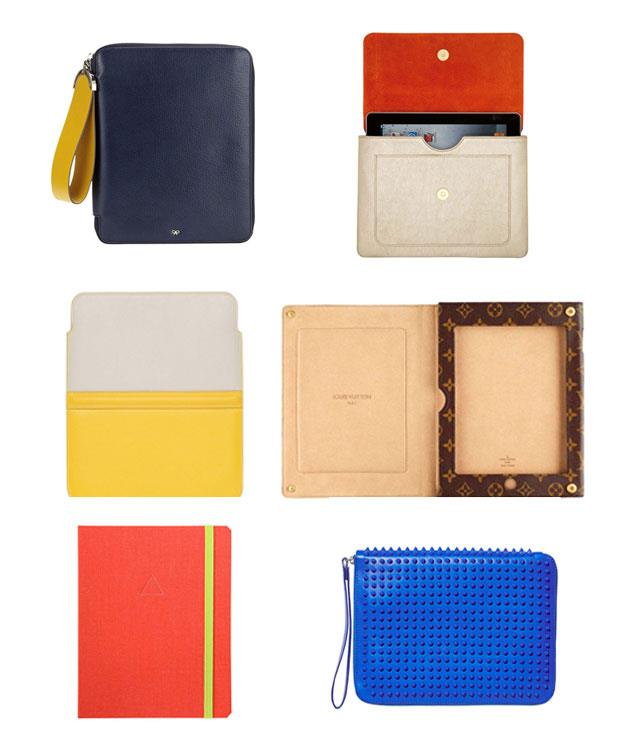 """**** Who boards a plane these days without their trusty tablet? Keep it chic with the best cases.      1 [Anya Hindmarch](http://anyahindmarch.com/ """"Anya Hindmarch"""") """"Seymour"""" iPad case, $570.   2[Capulet London](http://capuletlondon.com/ """"Capulet London"""") """"Olivia"""" metallic gold iPad clutch, $545.   3[Smythson](http://smythson.com/ """"Smythson"""") Yellow """"Panama"""" iPad sleeve, $296.   4Louis Vuitton Monogram folding iPad case, $820, 1300 883 880.   5[Dodocase](http://dodocase.com/ """"Dodocase"""") Build-A-DODOcase iPad cover, from $70.   6Christian Louboutin """"Cris"""" iPad case, $945, (02) 8203 0902."""