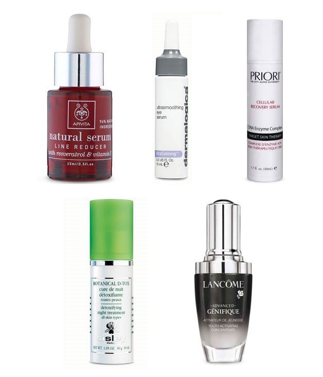 """**** Pack these in your carry-on to fight long-haul skin fatigue and dehydration.  1[Apivita](http://apivita.com/ """"Apivita"""") Natural Serum Line Reducer, $49.90.   2[Dermalogica](http://dermalogica.com.au/ """"Dermalogica"""") Ultrasmoothing Eye Serum, $69.    3[Priori](http://priori.com.au/ """"Priori"""") Cellular Recovery System, $199.   4Sisley Botanical D-Tox, $230 for 30ml, from select [David Jones](http://davidjones.com.au/ """"David Jones"""").    5Lancôme Genifique, $55 for 20ml. 1300 651 991."""
