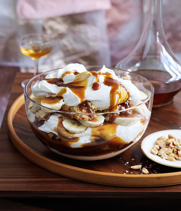 Banana, brandy and butterscotch trifle
