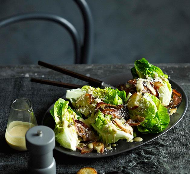Cos and parmesan salad with warm anchovy dressing