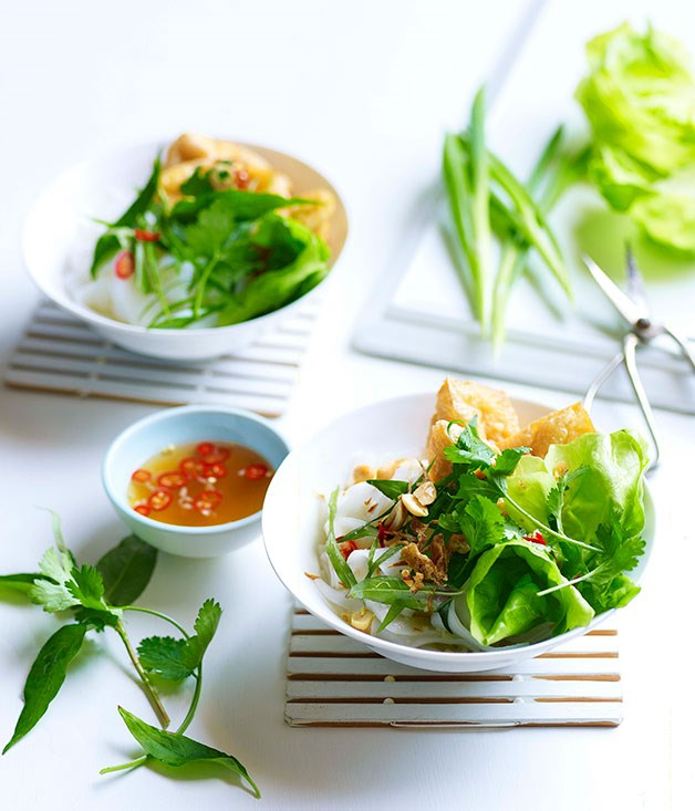 **Rice noodles with tofu puffs, Asian herbs and nuoc cham**