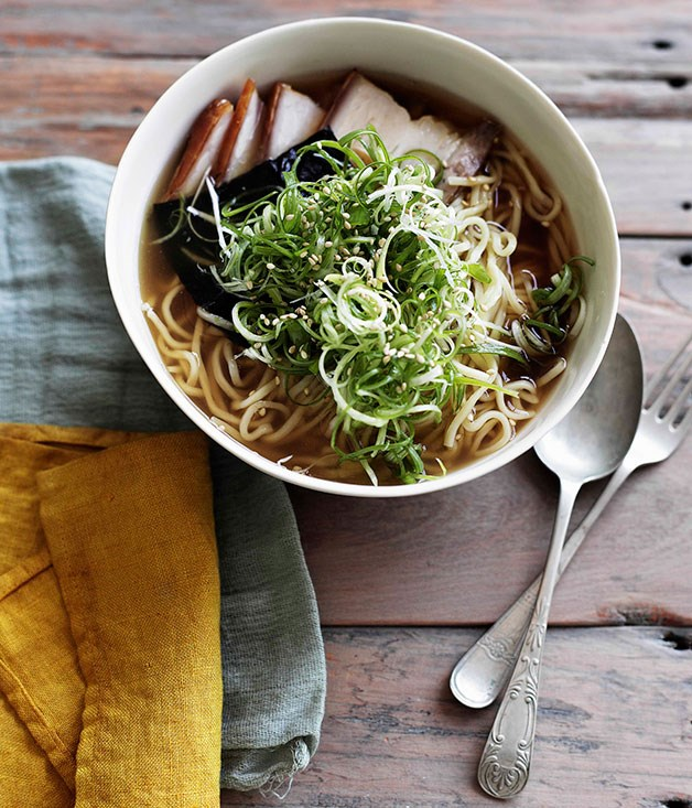 **Ramen with roast pork belly, nori and spring onion**
