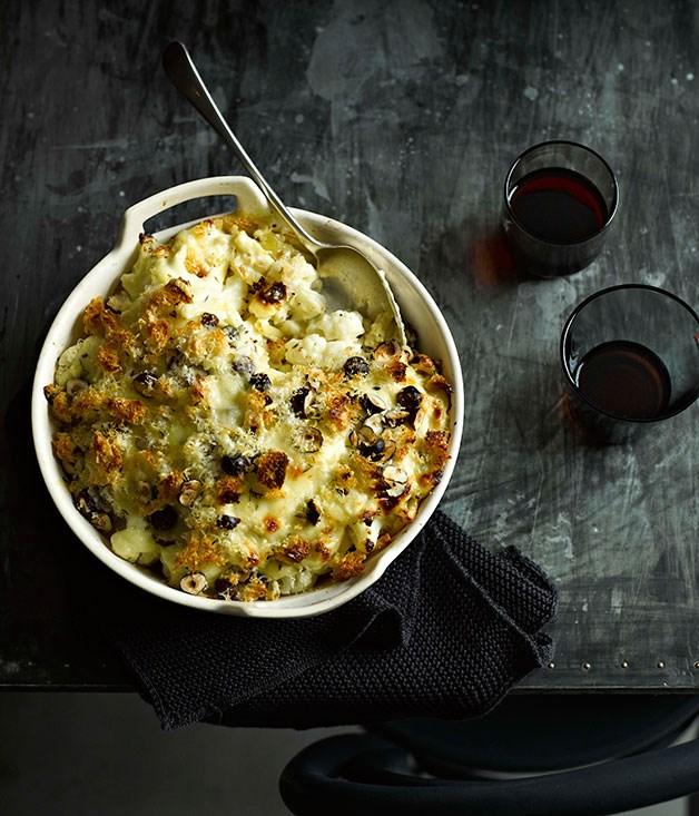 "**[Cauliflower mac and cheese with hazelnuts](https://www.gourmettraveller.com.au/recipes/fast-recipes/cauliflower-mac-and-cheese-with-hazelnuts-13367 target=""_blank"")**"