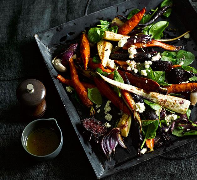 Roast root vegetables with sumac dressing