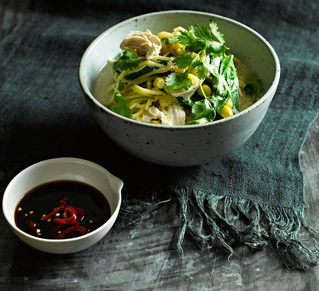 Chicken and egg noodle broth
