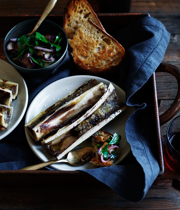 Bone marrow with pickled eggplant salad