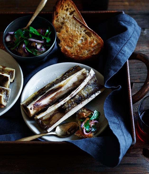 "**[Bone marrow with pickled eggplant salad](https://www.gourmettraveller.com.au/recipes/browse-all/bone-marrow-with-pickled-eggplant-salad-11718|target=""_blank"")**"