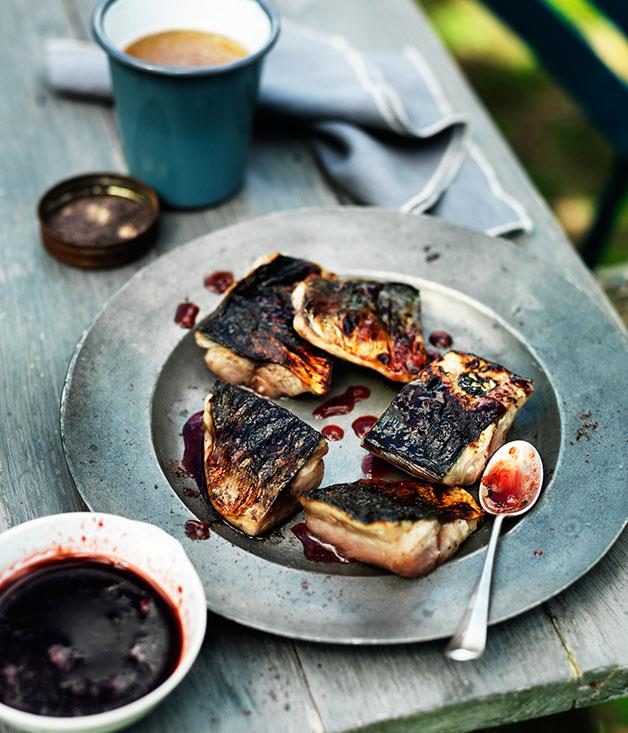 **Char-grilled mackerel with plum glaze and shiso salt**