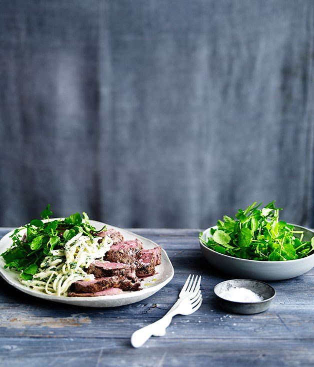 Garlic herbed beef with kohlrabi rémoulade and watercress