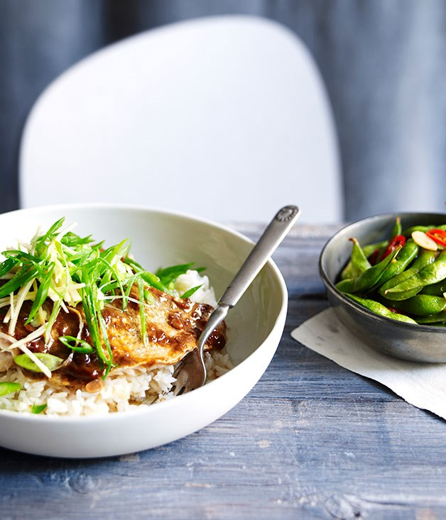 Steamed black-bean snapper with chilli edamame