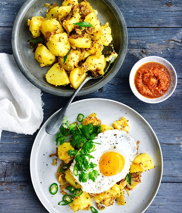 Indian-spiced potato, fried egg and kasundi