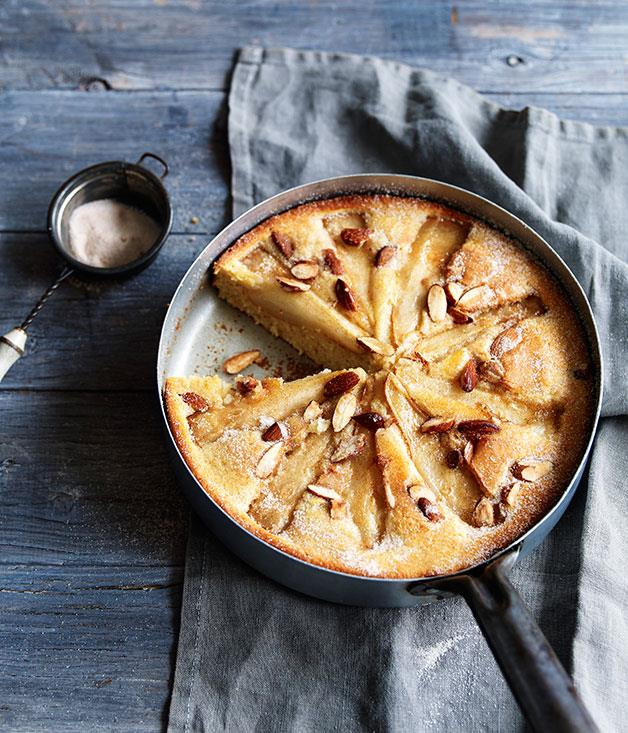 "**[Pear and almond skillet cake](https://www.gourmettraveller.com.au/recipes/fast-recipes/pear-and-almond-skillet-cake-13381|target=""_blank""