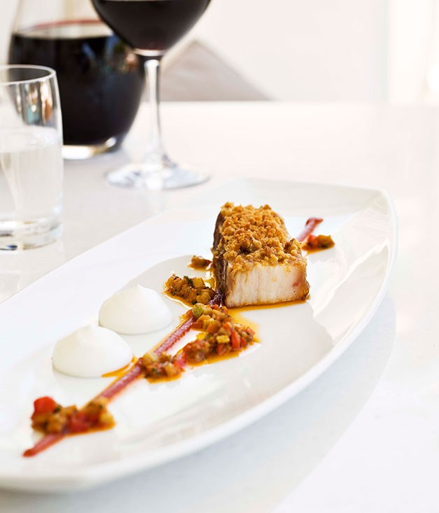 "[**Pork belly with moussaka vinaigrette**](https://www.gourmettraveller.com.au/recipes/chefs-recipes/pork-belly-with-moussaka-vinaigrette-7212|target=""_blank"") <br><br>"