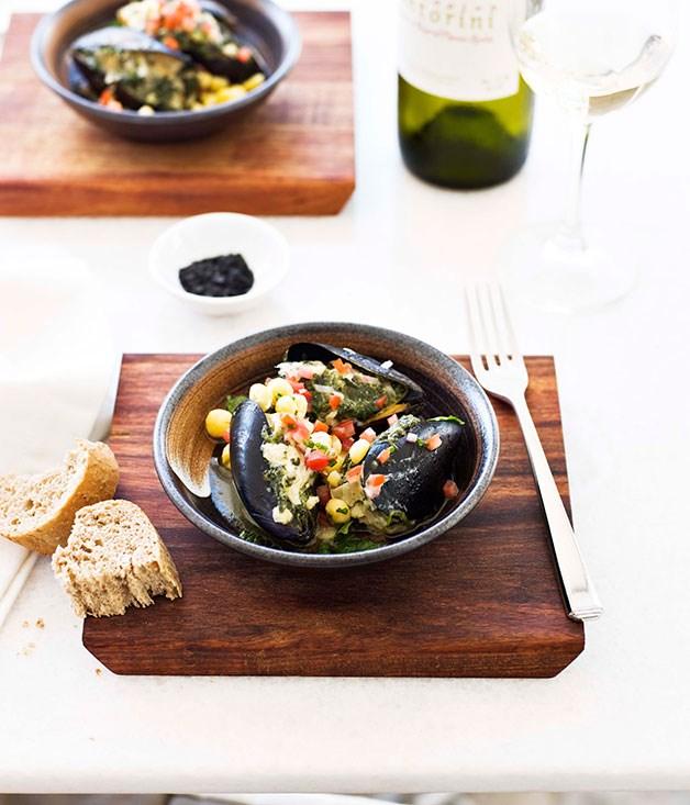 "[**Mussels 'spanakopita'**](https://www.gourmettraveller.com.au/recipes/chefs-recipes/mussels-spanakopita-7210 target=""_blank"") <br><br>"