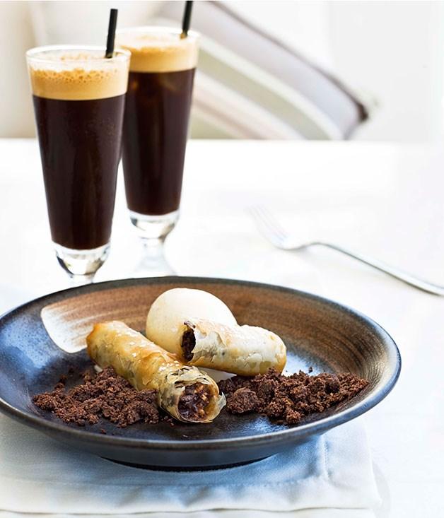 "[**Chocolate baklava**](https://www.gourmettraveller.com.au/recipes/chefs-recipes/chocolate-baklava-7207 target=""_blank"") <br><br>"