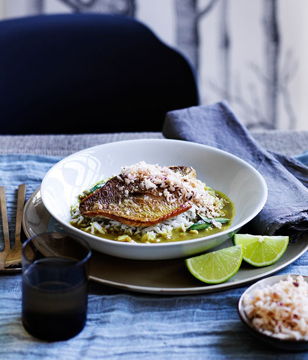 """[Flying Fish's fish curry with coconut sambal](https://www.gourmettraveller.com.au/recipes/chefs-recipes/fish-curry-with-coconut-sambal-9132