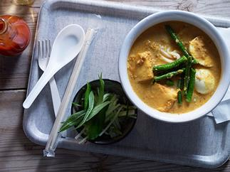 Laksa with tofu, eggs and snake beans