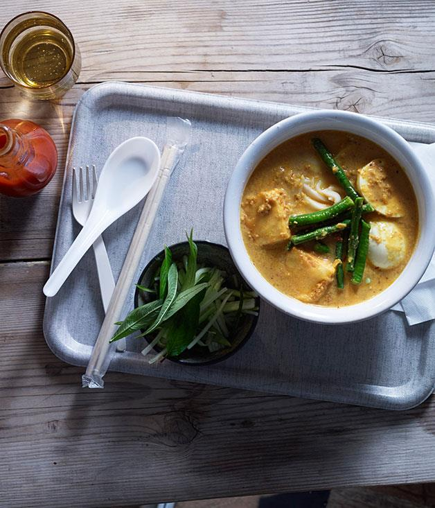 "**[Laksa with tofu, eggs and snake beans](https://www.gourmettraveller.com.au/recipes/browse-all/laksa-with-tofu-eggs-and-snake-beans-11727|target=""_blank"")**"