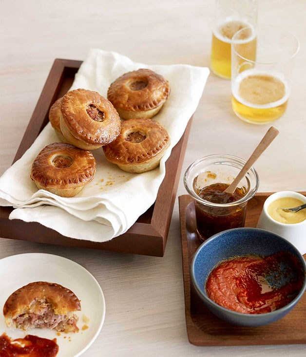 "[**Ale and cider pork party pies**](https://www.gourmettraveller.com.au/recipes/browse-all/ale-and-cider-pork-party-pies-10472|target=""_blank"")"