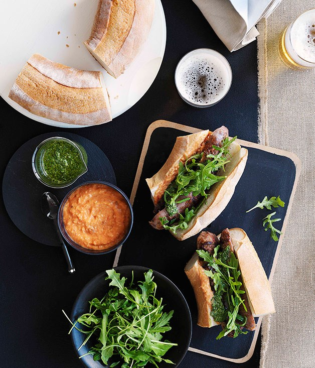 """[**Char-grilled chorizo rolls with two sauces**](https://www.gourmettraveller.com.au/recipes/browse-all/char-grilled-chorizo-rolls-with-two-sauces-10390