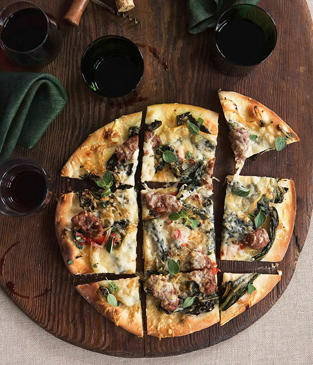 "[**Chicory, chilli and salsicce pizza**](https://www.gourmettraveller.com.au/recipes/browse-all/chicory-chilli-and-salsicce-pizza-14282|target=""_blank"")"