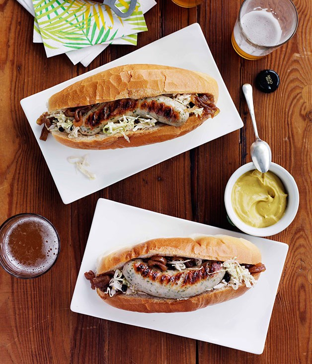 "[**Weisswurst with beer-braised onion and soused cabbage**](https://www.gourmettraveller.com.au/recipes/browse-all/weisswurst-with-beer-braised-onion-and-soused-cabbage-14285|target=""_blank"")"