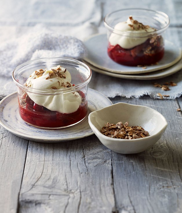 Cranachan with roast rhubarb