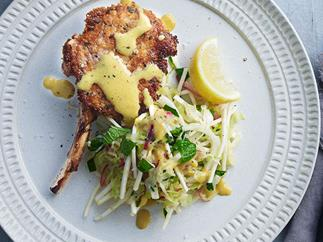 Veal cutlets with warm cabbage and celeriac slaw