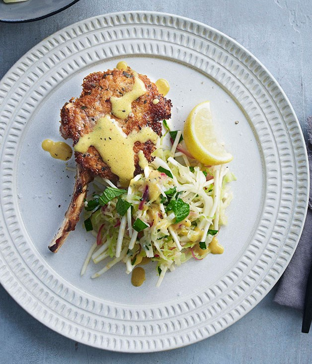 **Veal cutlets with warm cabbage and celeriac slaw**