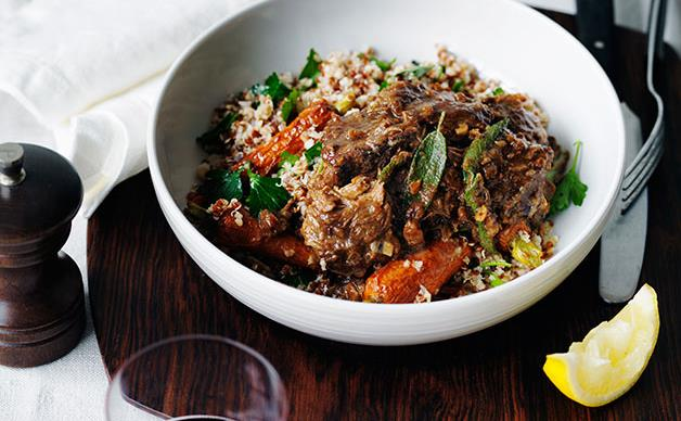 Braised lamb with roast carrot and mixed grains