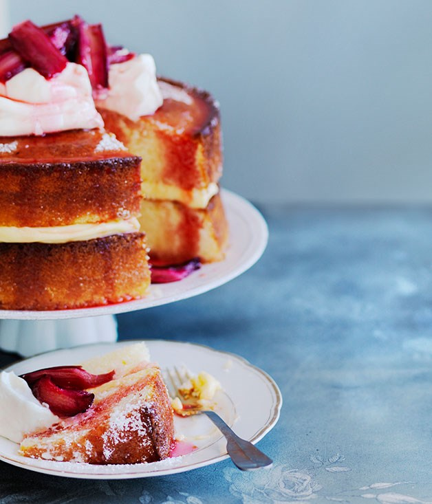 **Lemon sour-cream cake with roast rhubarb**